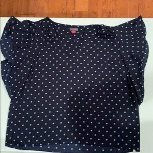 Polka dot flutter sleeve top